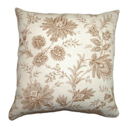 """The Pillow Collection - Camella Toile Pillow Chocolate 20"""" x 20"""" - Decorate your home with this lovely accent pillow. This throw pillow features a floral toile print pattern in Chocolate hue. This decor pillow evokes a romantic and homey vibe. Add this to your garden-theme home design and mix in other accent pillows. The fabric of this 20"""" pillow is made from 55% cotton and 45% linen fabric. Hidden zipper closure for easy cover removal.  Knife edge finish on all four sides.  Reversible pillow with the same fabric on the back side.  Spot cleaning suggested."""