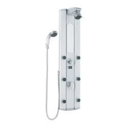 Vigo Industries - Shower Massage Panel with Digital Thermometer - Take your shower experience up a notch by adding luxury and style with this Shower Massage Panel with Digital Thermometer. Satin finished extruded aluminum construction is designed to be lightweight, durable and corrosion resistant. Unique massage panel is designed for flat wall and corner installation to provide better space utilization.