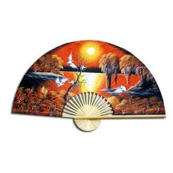 """Oriental Furniture - Asian Sunrise Fan - 40"""" - Our Asian Sunrise fan features a colorfuly scene of auspicious white cranes flying over a wooded shoreline. This design has been painted on sateen fabric attached to bamboo slats in this traditional Thai fan.  This design makes a colorful, authentic Oriental accent for the home or office."""