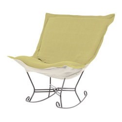 Howard Elliott - Sterling Willow Scroll Puff Rocker - Titanium Frame - Nothing less than the most comfortable chair on the planet! The soft luxury and style of our puff collection is a great addition to any room. All puff cushions are constructed with luxurious foam for optimal comfort. Like most HEC items, puff cushions are removable for easy cleaning, are interchangeable between frames.