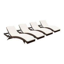 Modway Furniture - Modway Peer Chaise Set of 4 in Brown White - Chaise Set of 4 in Brown White belongs to Peer Collection by Modway Don't let moments of relaxation elude you. Peer is a serenely pleasant piece comprised of all-weather cushions and a rattan base. Perfect for use by pools and patio areas, chart the waters of your imagination as you recline either for a nap, good read, or simple breaths of fresh air. Moments of personal discovery await with this chaise lounge that has fold away legs for easy storage or stackability with other Peer lounges. Set Includes: Four - Peer Outdoor Wicker Chaise Chaise (4)
