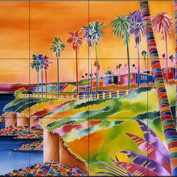 The Tile Mural Store (USA) - Tile Mural - Coastal California - Rm - Kitchen Backsplash Ideas - This beautiful artwork by Ron Mondz has been digitally reproduced for tiles and depicts a colorful tropical scene  Beach scene tile murals are great as part of your kitchen backsplash tile project or your tub and shower surround bathroom tile project. Waterview images on tiles such as tiles with beach scenes and sunset scenes on tiles.  Tropical tile scenes add a unique element to your tiling project and are a great kitchen backsplash  or bathroom idea. Use one or two of our beach scene tile murals for a wall tile project in any room in your home for your wall tile project.