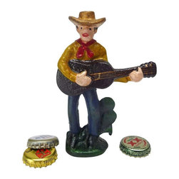 EttansPalace - Cactus Pete The Cowboy Cast Iron Bottle Opener - This lonesome cowboy is an antique replica that strums his guitar to pop your tops with vintage style! Hand-crafted exclusively for using the time-honored sand cast method, this antique replica cast iron bottle opener, freestanding western figurine is hand-painted to capture vintage details from hat to boots. Opener is disguised as a cactus!