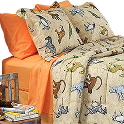 Divatex Bed and Bath - Zoolicious XL Twin Comforter Sheets Bedskirt and Shams - Features: