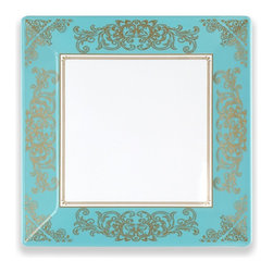 "10.5""Pembroke Dinner Plate - Gold Leaf Border Square Plate"