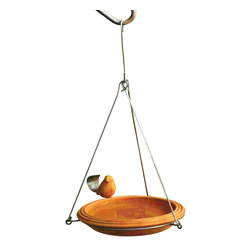 Ancient Graffiti - Round Hanging Birdbath and Bird Feeder - Spice colored, round, hanging ceramic birdbath decorated with matching metal-tailed bird. Sturdy metal hanger that can be hung from a tree or shepherd's hook.