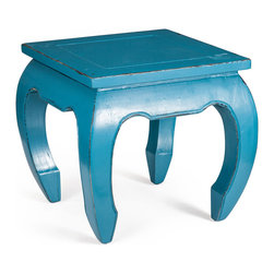 Zuo Modern - Donahue Side Table - The voluptuous shape of the turquoise Donahue Side Table would be right at home in Aladdin's cave of wonders. Crafted from elm wood. The bold color and curving shape provides a stunning home for a bright yellow lamp or a stack of orange and red books.