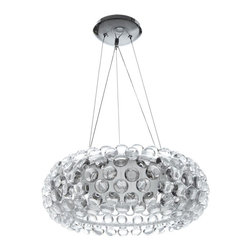 IMPORT LIGHTING & FURNITURE - Caboche Chandelier - The iconic Caboche Chandelier is composed of transparent globes made of polymethylmetacrylate. A shade in white matte finished glass offers direct upward and downward light projection and diffusion throughout the space.