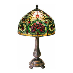 Warehouse of Tiffany - Tiffany-style Decorative Table Lamp - Add a classic look to any room in your home or office with this stained-glass Tiffany-style decorative table lamp. This attractive lamp is a colorful way to bring extra light into your space and has been handcrafted with 399 individual glass pieces.