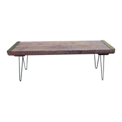 Mt Hood Wood Works - 4 Ft Industrial Bench From Salvaged Barnwood With Hairpin Legs - Industrial Bench from rough sawn old growth Douglas Fir with hairpin legs. This wood has been salvaged and reclaimed, every piece has been used, now it can be used again This barnwood has a very unique appearance and is superior to the wood that you can purchase new in stores now days. This barnwood is very old and is not milled and cut in this fashion any more. This piece is made with black angle iron, steel hairpin legs, and dark brown roughsawn salvaged barnwood. Bench has been sealed with Shellac shellac is a resin secreted by the female lac bug, on trees in the forests of India and Thailand. It is processed and sold as dry flakes, which are dissolved in ethyl alcohol to make liquid shellac, which is used as a brush on colorant, food glaze and wood finish. Shellac functions as a tough natural primer sanding sealant, tannin blocker, odour blocker, stain, and varnish. The particular bench that you receive may have slightly different characteristics than the one in the picture. Most antique barn wood was logged from old growth trees 50 to 150 years ago. Made in Oregon. 48 inches long, 17 inches tall, and 15 inches wide.