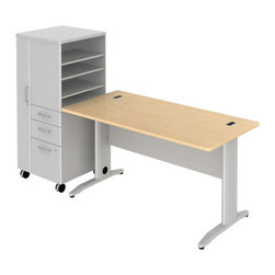 """BBF - Bush Sector 60"""" Desk with File Locker in Natural Maple - Bush - office Sets - SEC025LSAC - Bring everyone together in open work environments and have a portable place for coats files papers and supplies. Bush SECTOR Series Suite 25SLAC in Natural Maple with 60""""W x 60""""D Rectangular Desk and 60""""W Rectangular Work Surface plus 24""""W LH Mobile Storage/File Locker let you spread out in style. Affordable workstation desks and work surfaces are easily reconfigurable. Metal-to-metal connections allow repeated attaching and detaching without joint fatigue. Includes two covered ports for cord and cable management. Four-gang USB hub allows quick connections for recharging phones or connecting peripherals. Go anywhere large lockable storage compartment includes convenient coat hook. Open work-in-progress trays with two adjustable shelves quickly organize papers and documents. Two box drawers for personal or office supplies. Secure lockable file drawer for letter- legal-and A4-size files. Easily moveable yet secure when positioned by two locking and two swivel casters. Attractive anodized Aluminum drawer pulls fit all decors. Straight-leg kit has raceway under desk front and back grommets and removable side leg panel to allow hiding of unsightly cords and cables. Rugged Diamond Coate top surface resists marking staining and abrasions. Includes Bush 10-year warranty. Includes Bush 10-year warranty."""