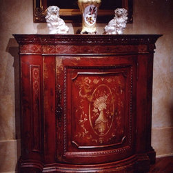 "Habersham - Habersham Tuscany Commode - It all started in the small North Georgia town of Clarkesville. It was 1969 and Habersham founder Joyce Eddy had just been given the chance to operate a small antique shop located above an old laundromat. This was just the opportunity a woman of Joyce's vision and energy would turn into the perfect blend of utility artistry and soul. Looking for ways to make her antique business more profitable she began crafting small decorative purses from vintage wooden cigar boxes. They were totally unique and they were an instant hit. Joyce named her new venture Habersham Plantation after Georgia's Habersham County and the plantations for which the area was known. The ideas just kept coming. One day Joyce was driving by a local textile company and spotted a large pile of old discarded wooden spools. Those spools were soon crafted into candleholders towel racks and folk art items. With the help of her sons and other family members Joyce expanded Habersham's offerings to include handcrafted furniture reflecting the American Country designs of the early 17th and 18th centuries. As word spread and production demands grew Joyce enlisted the help of woodworkers from her North Georgia region. This area had been a center for cabinetmaking since the early 1800s and the master craftsmen were well-schooled in the time-tested woodworking and joinery techniques that matched Joyce's sense of style and function. She even designed her factory to work just as the 18th century cabinetmakers did with individual artisans hand-finishing signing and dating each piece of furniture they crafted. Today Habersham still leads the way in the fine art of furniture design. So much so that in addition to their product line a new ""whole home"" concept is finding its way into some of the finest dwellings in the country. Custom kitchen bath and other cabinetry designs offer rich opulent finishes and blend seamlessly with rooms of casual elegance all enhancing today's gracious lifestyle. Features include Interior: 2 adjustable shelves."