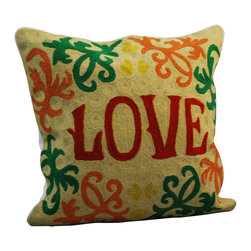 "Modelli Creations - Crewel Work Pillow With Love Design - Love letters. These beautifully hand-embroidered letters clearly spell out the word for the day. Pair this stunning crewelwork pillow with the partner ""Live"" pillow and you've pretty well summed up your priorities."