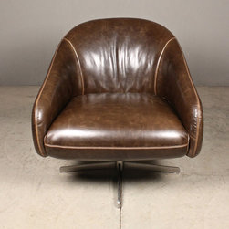 swivel chair – slick brown leather - view this item on our website for more information + purchasing availability: http://redinfred.com/shop/category/furnish/chairs/postma-chair/
