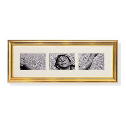 "Exposures - Linear Display Triple Opening 4"" x 6"" Wall Frame - Overview This triple opening picture frame is a great way to display 4"" x 6"" photos. Whether you are making a collage wall frame grouping, arranging a sequence, or showcasing variations on a theme, these side-by-side bevel-cut windows set off your photos cleanly. Choose from three colors to match your existing decor. Features Solid wood moldings Available in black, cherry, and gold Warm white acid free mat Vertical or Horizontal Wall display only  Specifications Frame measures 8-1/2""H x 23""W overall and holds three 4"" x 6"" photos"