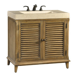 Ambella Home - Hampton Road Sink Chest - This petite sink chest in the Hampton Road collection is crafted from gmelina solids with maple veneer. It features two doors and an integrated white agate fossil stone top and sink.   Imported.