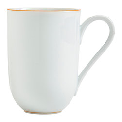 Raynaud - Monceau Orange Porcelain Mug - The edges of this elegant dinnerware are detailed with the slightest hint of orange for a dramatic effect. The elegant pieces can be used alone to bring understated wit to the table or dressed up by mixing in with patterns.