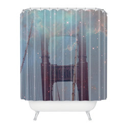 DENY Designs - Maybe Sparrow Photography Starry San Francisco Shower Curtain - Who says bathrooms can't be fun? To get the most bang for your buck, start with an artistic, inventive shower curtain. We've got endless options that will really make your bathroom pop. Heck, your guests may start spending a little extra time in there because of it!