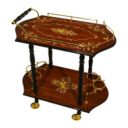 None - Sorrento Inlaid Wood Inspired Burl Wood Toned Beverage Serving Cart - The traditional style of this lovely serving cart will add both elegance and grace to your next dinner party or event. Featuring a glossy finish,this cart will impress your friends and guests with its functional class.