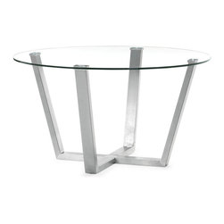 Zuo Modern - Zuo Brush Dining Table in Clear Glass - Dining Table in Clear Glass belongs to Brush Collection by Zuo Modern With the Brush dining table's clear circular glass top and stainless steel frame, any space transforms into a more functional and well designed atmosphere. Dining Table (1)