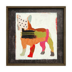 Kathy Kuo Home - French Bulldog 'Frenchie' Painted Vintage Wood Wall Art - Small - Primitive folk art meets abstract expressionism in this sweet print. A charming bulldog is constructed of lines, dots and colorful swooshes and swatches. Bring it home for the dog lover — or art lover — in your life.