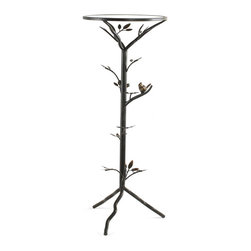 None - 'Glass Bird' Large Metal End Table - Add an interesting element to your home with this decorative metal end table. This lovely structure features a bird motif that is sure to delight family and guests alike,and the aged-bronze finish ensures it fits into any decorating scheme.