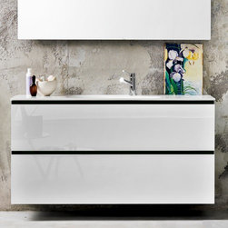Artelinea - Artelinea | Domino44 White Single Vanity With Two Drawers and Faucet Hole - Made in Italy by Artelinea.Ample storage space and time-tested durability make this Italian made Domino44 vanity a smart addition to your bathroom. The two soft-close drawers come equipped with divided compartments that help to keep all your bathroom toiletries neatly organized. The large sink basin is crafted from a single sheet of thick Opalite material for a seamlessly integrated washing area that still provides optimal counter space. Select to add a pop of color to the piece by choosing from the variety of accent strip color options. Product Features: