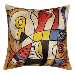 Modern Silk - Fish Design II Decorative Pillow Cover Hand Embroidered 18″ X 18″ - Decorative Fish design pillow II cover hand embroidered -This decorative pillow is artwork inspired from modern art.The eye-popping color and pattern of this modern pillow is just what the designer ordered to create a fiery focal point in your décor. Perfect wherever you need a splash of color, this art work pillow creation is as durable as it is beautiful. A close-up view of this abstract pillow cover allows you to see the amazing chain-stitch embroidery work of master artisans who have practiced this art their entire lives.This decorative pillow cover could grace the cabin of your boat or the chair in your solarium and yet be equally as comfortable in your den. Rendered here as chain stitch embroidery in art silk, this cushion cover can create a new personality for any room in which you choose to use it.