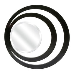 """IMAX - Glamourazzi Wall Mirror - With a wink back to art deco style, the Glamourazzi wall mirror has two rings outlining the beveled mirror in a striking, stand alone wall piece. Item Dimensions: (36""""d)"""
