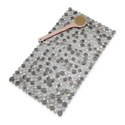 """Venturi Inc. - Pebble Bath Mat in Gray - Designed to look and feel like real pebbles with depth and dimension this bath mat helps to soothe sore, achy feet. Bath mat measures 17"""" x 30""""."""