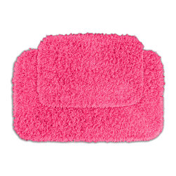 None - Quincy Super Shaggy Pink Bath Rugs (Set of 2) - Jazz up the bathroom, shower room, or spa with a bright note of color while adding comfort to sink toes into with the Quincy Super Shaggy bathroom collection. These two pink rugs are created from soft, durable, machine-washable nylon.