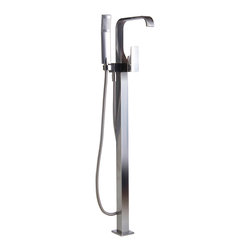 ALFI - ALFI Nickel Single Lever Floor Mounted Tub Filler Mixer w Hand Held Shower Head - Comfort and style work together in harmony to transform your bathroom. This floor mounted tub filler  by ALFI brand comes equipped with a handheld shower head, giving you the freedom to choose how to indulge in your next tub soaking experience.
