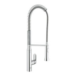 "Grohe - Grohe 32951000 Starlight Chrome K7 K7 Professional Kitchen Faucet with - Product Features:  All-brass faucet body construction ensures durability for a lifetime Covered under Grohe s limited lifetime warranty Grohe faucets are exclusively engineered in Germany Finishes will resist corrosion and tarnishing through everyday use - finish covered under lifetime warranty Grohe kitchen faucets will surprise and delight the user with every interaction The perfect synthesis of form and function Locking dual spray control - switch back and forth between regular flow and spray Spout swivels 140-degrees providing greater access to more areas of the sink High-arch gooseneck spout design provides optimal room under the faucet for any size task ADA compliant  Product Specifications:  Overall Height: 26-5/9"" (measured from counter top to highest point on faucet) Spout Height: 5-7/8"" (measured from counter top to spout outlet) Spout Reach: 9-1/5"" (measured from center of faucet base to center of spout outlet) Number of Holes Required For Installation: 1 Flow Rate: 2.2 GPM (gallons-per-minute) Maximum Deck Thickness: 2-3/8"" Designed for use with standard U.S. plumbing connections All hardware needed for mounting is included with faucet  Product Technologies / Benefits:  Starlight Finish: Continuously improving over the last 70 years Grohe's unique plating process has been refined to produce and immaculate shiny surface that is recognized as one of the best surface finishes the world over. Grohe plates sub layers of copper and/or nickel to ensure that a completely non-porous, immaculate surface awaits the chrome layer. This deep, even layered chrome surface creates a luminous and mirror like sheen. Grohe finishes are life tested to withstand 60,000 &ld"