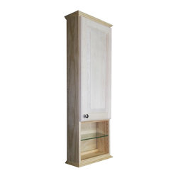 WG Wood Products - Ashley Series 42x3.5-inch Unfinished Wall Cabinet - Four adjustable glass shelves and a shaker style door that rests on concealed hinges, define this charming, Ashley Series On-the-Wall cabinet. The door is left undrilled for a knob or handle so you can mount it to open in either direction.