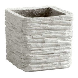 Small Square Fossil Cliff Planter - Small Square Fossil Cliff Planter