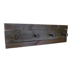 "East Coast Rustic - Rustic Coat Rack with Rail Road Spikes in Ebony - This reclaimed barn wood coat rack shelf is approximately 32"" long x 10"" high. All dimensions are approximate."