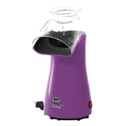 Focus Electrics - Air Crazy Corn Popper Purple - West Bend Air Crazy Corn Popper. Pops 3.5 qts. of popcorn in 3 minutes.  No oil required.  Butter cup doubles as a fill measuring cup for the popcorn chamber.  Slim design for easy storage.  Easy wind cord base.  On/off switch.