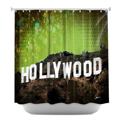 DiaNoche Designs - Shower Curtain Artistic - Hollywood - DiaNoche Designs works with artists from around the world to bring unique, artistic products to decorate all aspects of your home.  Our designer Shower Curtains will be the talk of every guest to visit your bathroom!  Our Shower Curtains have Sewn reinforced holes for curtain rings, Shower Curtain Rings Not Included.  Dye Sublimation printing adheres the ink to the material for long life and durability. Machine Wash upon arrival for maximum softness. Made in USA.  Shower Curtain Rings Not Included.