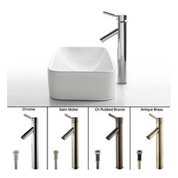 "Kraus - Kraus C-KCV-122-1002SN Satin Nickel White Ceramic 19-1/2"" Ceramic - Combo Includes:White ceramic vessel sinkSolid brass vessel faucetPop-up drain (matches faucet finish)Sink Features:Fully covered under Kraus  limited lifetime warrantyConstructed of the finest grade vitreous chinaNon-porous glossy, baked on finish is highly durable and scratch resistantHandmade by skilled artisansAdd an elegant touch to your bathroom with a Kraus ceramic wash basinThis bathroom sink will enhance any home improvement remodelDesigned for above-the-counter installationStandard 1-3/4"" drain opening - designed to easily connect to waste lines, including P-trapsExtra secure mounting assemblyAll necessary mounting hardware includedCertifications and Listings Include: UPC, cUPC, CSA, IAPMO, ANSI and SCCFaucet Features:Fully covered under Kraus  limited lifetime warrantyAll-brass faucet constructionHigh-quality, corrosion and rust resistant triple-plated finish - finish covered under lifetime warrantySingle handle operationTall design for use with vessel (above-the-counter) sinksADA compliantLow lead compliant - complies with federal and state regulations for lead contentDesigned to easily connect to standard U.S. plumbing supply bibsExtra secure mounting assemblyAll necessary mounting hardware includedCertifications and listings include: UPC, cUPC, CSA, IAPMO, ANSI and SCCSink Technologies and Benefits:The Vessel Advantage: Beyond uniqueness and their distinctive modern design, vessel sinks also present a couple of functional advantages. Because the sink is raised off the countertop, overall bathroom clutter presents less of an issue as items are merely level with or below the sink rim,"