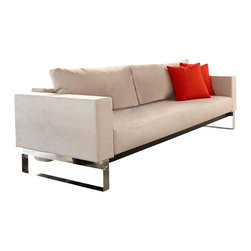 """Innovation USA - """"Innovation USA"""" Cassius Sleek Sofa Bed in Natural Khaki - We offer you one of the best ways to elevate your home decor to the highest level without any sacrifices. This """"Innovation USA"""" Cassius Sleek Sofa Bed in Natural Khaki has a smart design that allows you to save the free space in small interiors. To transform the sofa into a Queen size Bed, just pull the seat and fold down the backrest. Patented 10"""" iComfort mattress ensures the highest comfort for you or your guests.    Features:"""