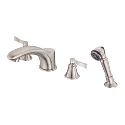 "Danze - Danze D301725BN Brushed Nickel Aerial Deck Mounted Roman Tub Faucet - Product Features:Faucet body and handles feature all-brass constructionFully covered under Danze's limited lifetime faucet warrantyHigh-quality finishing process – finish covered under lifetime warrantyPersonal hand shower included – helps to rinse down tub or just rinsing off after a bathBathroom faucets from Danze are engineered to function flawlessly and feature enduring designsDeck mount installation – faucet mounts directly to the tub fixtureDouble handle operation – handles rest on 1/4 turn valve seats2 handles included with faucetFaucet trim is complete with required rough-in valve systemADA CompliantProduct Technologies and Benefits:Drip-Free Ceramic Disc Valves: By making these components standard across all of their bathroom faucets, Danze has made leaking and rough operating faucets a thing of the past. These valves provide a lifetime of smooth handle control, and never allow a drop of water out of place. They are maintenance free and are sturdy enough to withstand the most severe conditions.Product Specifications:Overall Height: 6-5/8"" (measured from mounting deck to highest point on faucet)Spout Height: 4"" (measured from mounting deck to spout outlet)Spout Reach: 8-3/8"" (measured from center of faucet body to center of spout outlet)Maximum Deck Thickness: 3-1/2"" (cannot mount on decks thicker without extension kit)"