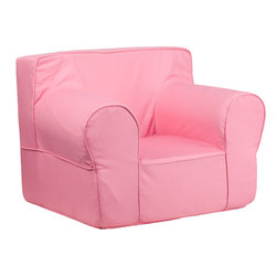 Flash Furniture - Flash Furniture Oversized Solid Light Pink Kids Chair - This comfy foam chair is a fun piece of furniture for children to enjoy for reading and relaxing. The lightweight design with carrying handle will allow this chair to be toted in several locations. The slipcover can be removed for cleaning or spot cleaned upon accidents.