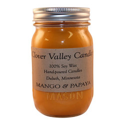 Clover Valley Candles - Mango & Papaya Pint Scented Soy Candle by Clover Valley Candles - This is a 100% soy wax candle that gives the aroma of a tangy, sweet, fruity blend of a ripened mango and juicy papaya is a tropical delight! Every Clover Valley Candle is individually hand poured and made from the highest quality of 100% Soy Wax and fragrance oils. We use 100% Cotton; semi self-trimming wicks so there is little to no trimming necessary to maintain a consistent burn. Our candles and melting tarts are made in Duluth, Minnesota with attention to detail, pride and loving hands.  Burn time:  80 - 100 Hours, our candles were tested to burn for 3 hours per lighting, with wick trimmed at 1/4 inch for best results.
