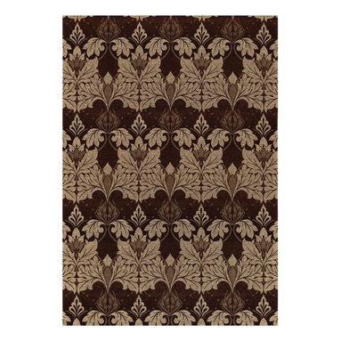 Sweet William rug in Cocoa - These fine, tapestry-like flat woven rugs are created on precise jacquard looms in Belgium - the only method possible to achieve the clarity and detail of famous art inspired by the school of William Morris.