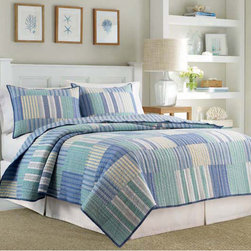 Nautica - Nautica Belle Isle Cotton Quilt - Create a new look for your bedroom with this Nautica Belle Isle quilt featuring soft aqua shades in a lovely patchwork pattern on one side and a striped pattern on the reverse. The backing is 100 percent cotton for softness and durability.