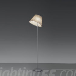 Artemide - Choose floor lamp - Diffuser in transparent polycarbonate with pleated design incorporating a red silk and polycarbonate fiber blend or parchment paper removable insert • Diffuser adjusts with a transparent clip to full downwards and 30° upwards position, and also rotates 350° around its vertical axis • Base and stem in dark grey painted steel • On/off switch on cord • U.L. listed