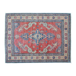 1800-Get-A-Rug - Oriental Rug Red Kazak Hand Knotted Rug Tribal Design Sh9451 - About Tribal & Geometric