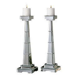 Uttermost Alanna Mirrored Candleholders, Set/2 - Constructed of numerous beveled mirrors with polished edges for a smooth finish. Distressed ivory candles included. Constructed of numerous beveled mirrors with polished edges for a smooth finish. Distressed ivory candles included.