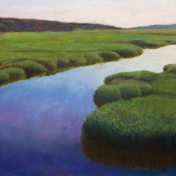 Bridge St. Marsh Artwork - A landscape of the lush marsh and tranquil waters of beautiful Cape Cod. Expertly matted and framed under glass, it is also signed by artist Shawn Nelson Dahlstrom. Generously sized, this tasteful piece will add soft color and serenity to your space, giving you a new favorite spot to gaze, reflect and dream.