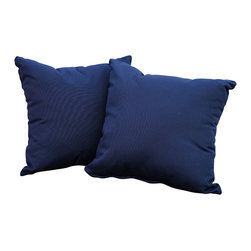 "Great Deal Furniture - Samara 17"" Outdoor Accent Pillow (Set of 2), Navy Blue - Accessorize your home with these Samara navy blue pillows. Upholstered in Sunbrella woven fabric, a durable weather resistant material, these colorful chic accent pillows are a great option to add flare and comfort to your home. Use them indoors or to accessorize your outdoor seating set."